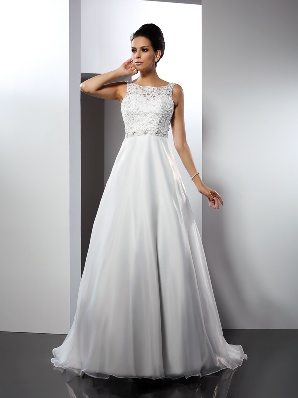 Chapel Train White Scoop Wedding Dresses with Ruffles