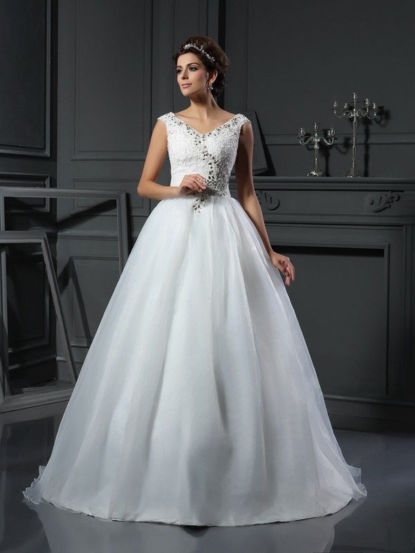 A-Line V-neck Chapel Train Ivory Wedding Dresses