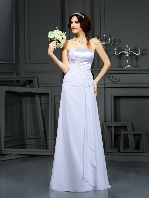 Chiffon Strapless Brush Train White Wedding Dresses