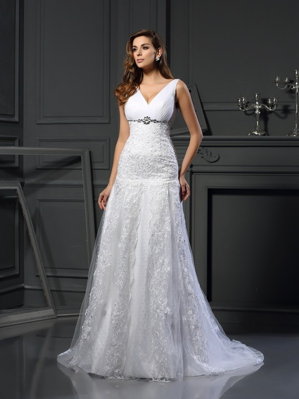 A-Line V-neck Chapel Train White Wedding Dresses with Beading