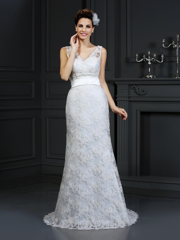 Mermaid Sweetheart Chapel Train Ivory Wedding Dresses