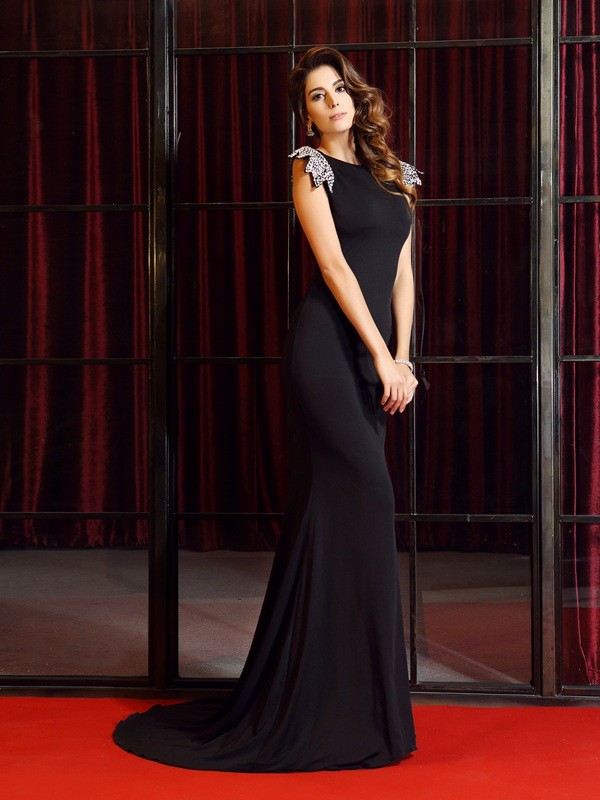 Mermaid Bateau Court Train Black Prom Dresses