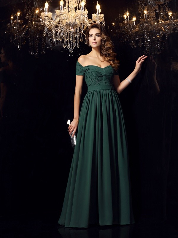 Chiffon Off-the-Shoulder Floor-Length Dark Green Prom Dresses