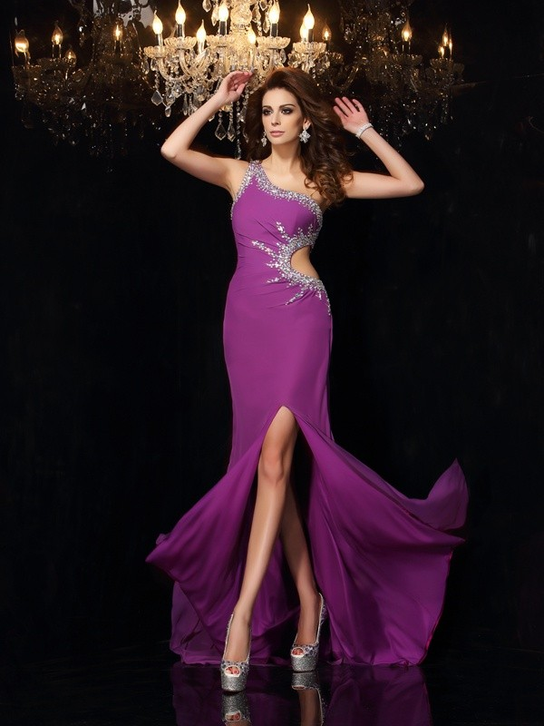 Sheath One-Shoulder Floor-Length Grape Prom Dresses