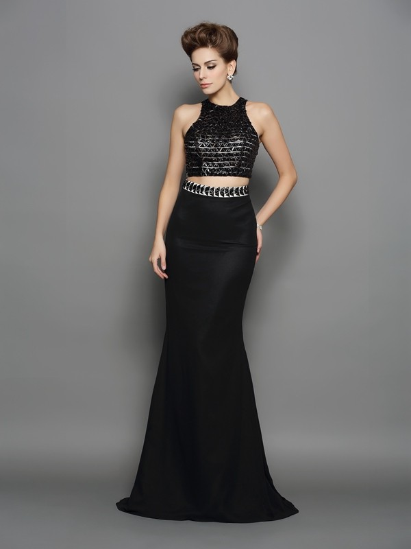 Mermaid High Neck Brush Train Black Prom Dresses