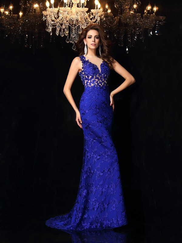 Mermaid Satin High Neck Brush Train Prom Dresses with Lace