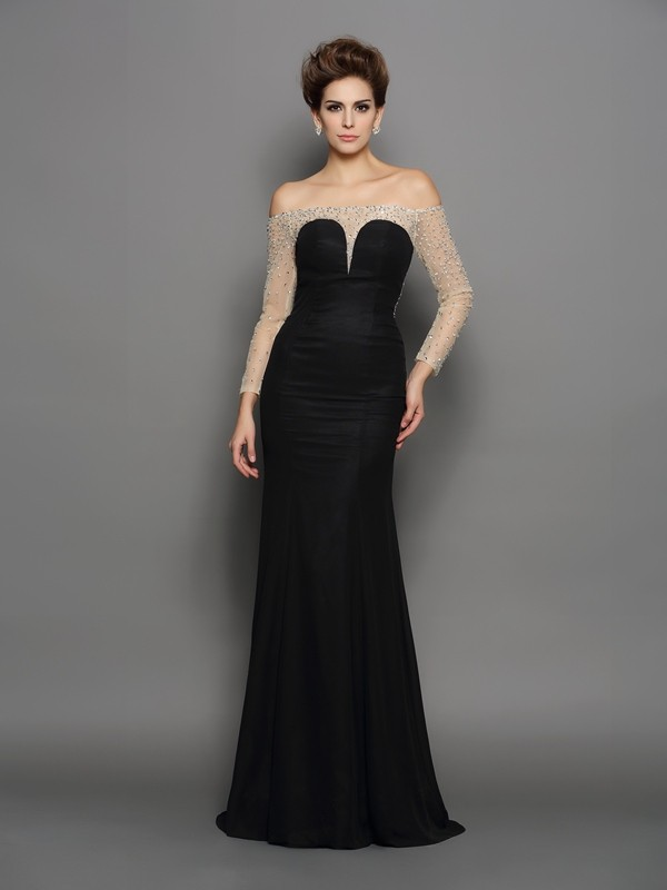 Mermaid Brush Train Long Sleeves Off-the-Shoulder Black Prom Dresses