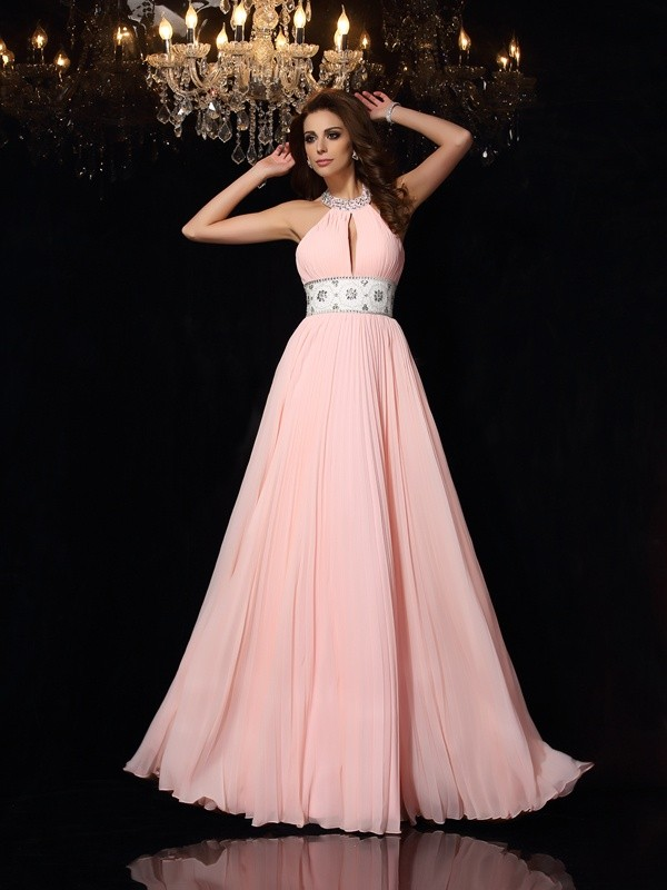 Pink High Neck Chiffon Floor-Length Prom Dresses