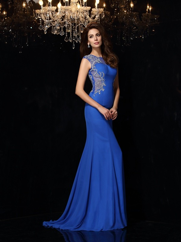 Scoop Brush Train Royal Blue Prom Dresses with Beading