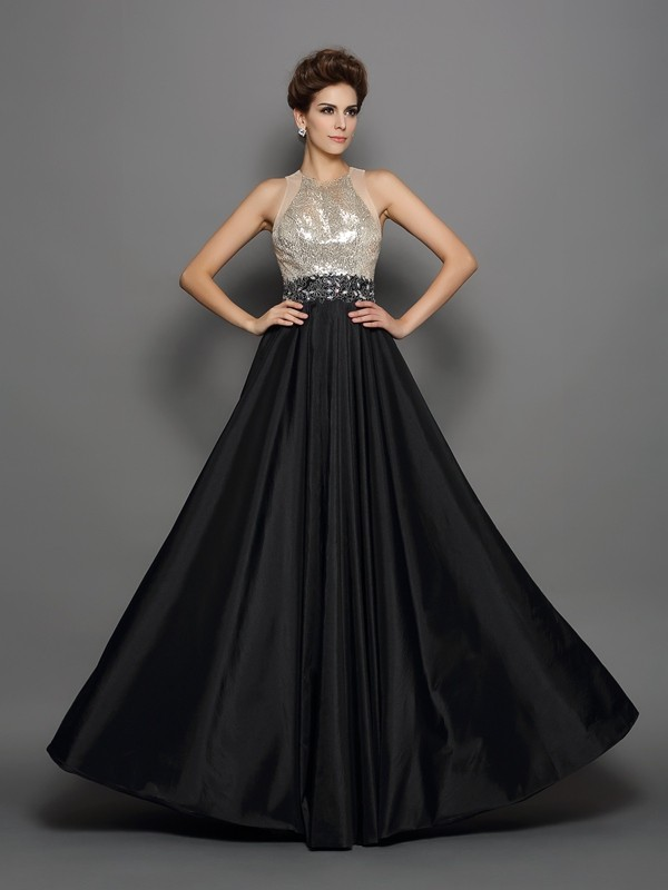 Black High Neck Taffeta Floor-Length Prom Dresses