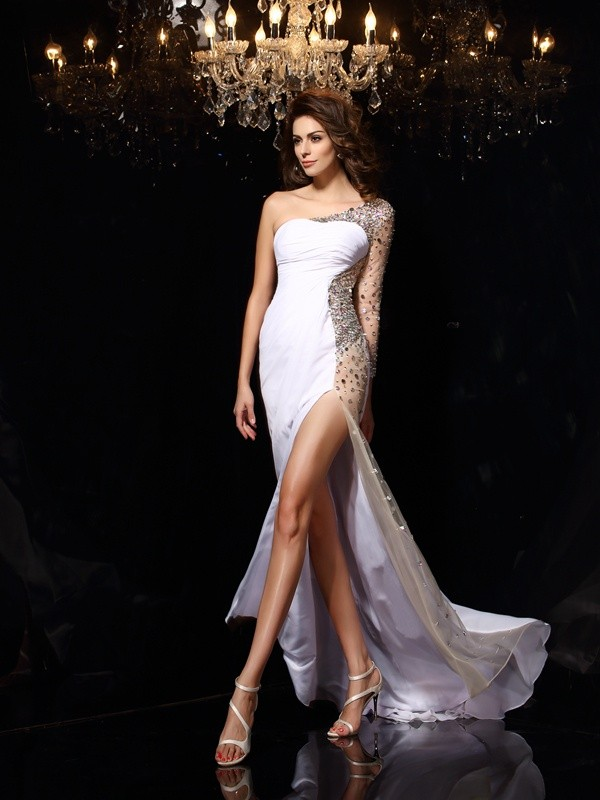 Long Sleeves One-Shoulder Brush Train White Prom Dresses with Beading