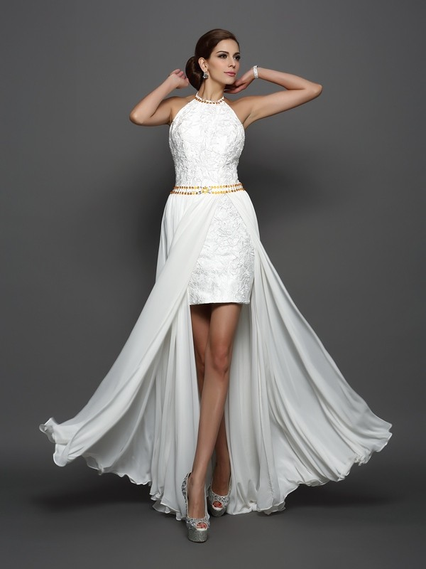 A-Line Chiffon High Neck Chapel Train White Wedding Dresses