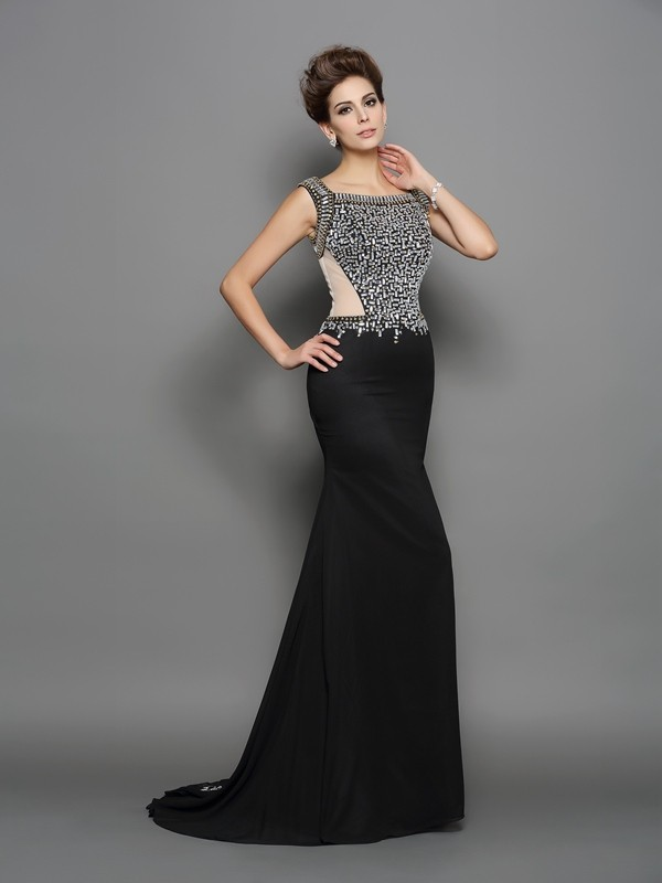 Mermaid Square Brush Train Black Prom Dresses with Beading