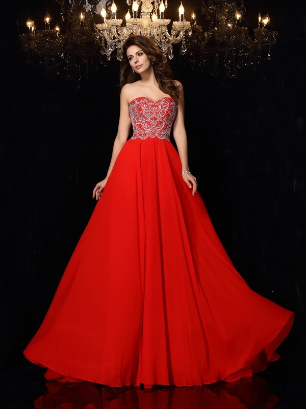 Chiffon Sweetheart Brush Train Red Prom Dresses