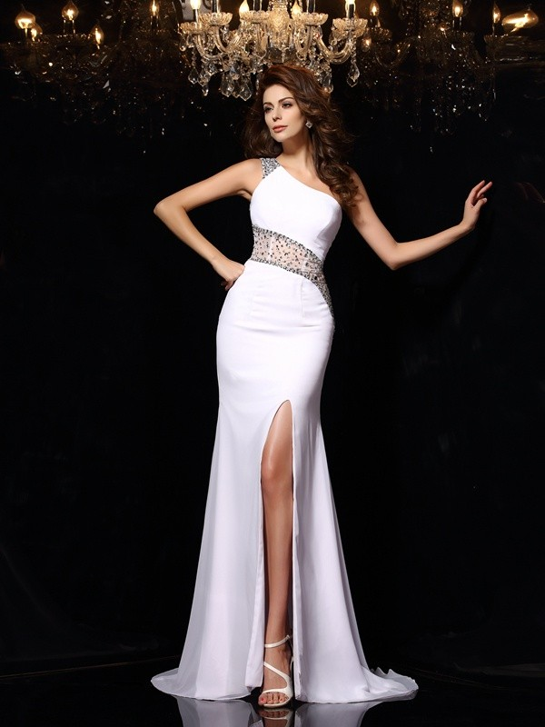 Sheath One-Shoulder Brush Train White Prom Dresses with Beading