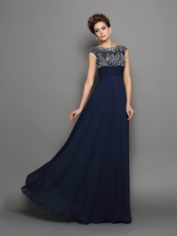 A-Line Scoop Floor-Length Dark Navy Prom Dresses with Beading