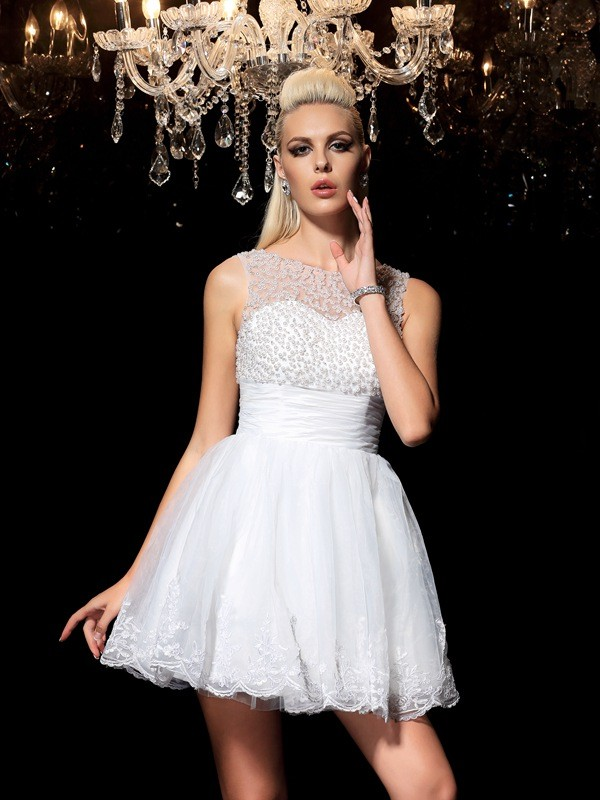 White Sheer Neck Elastic Woven Satin Short/Mini Homecoming Dresses