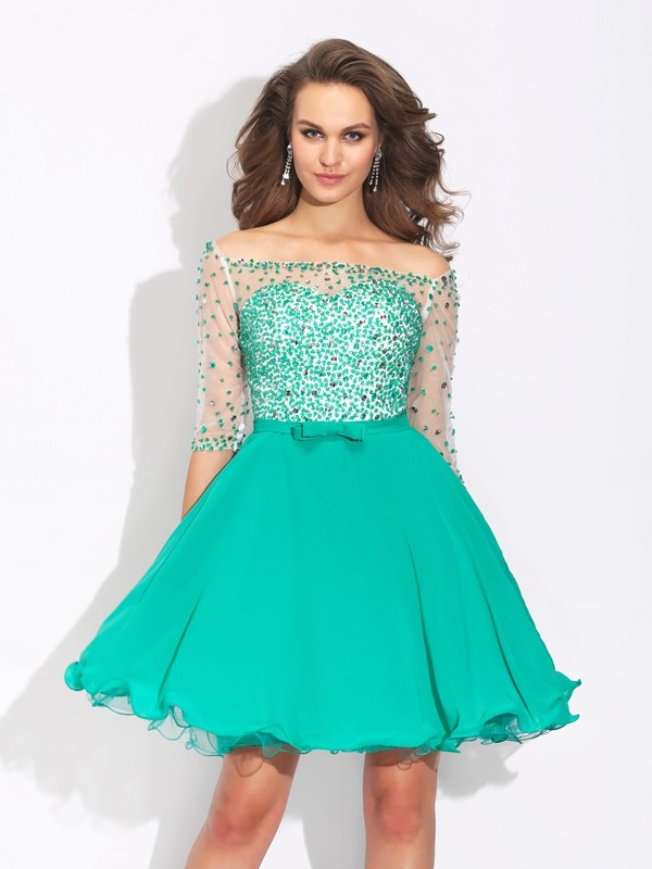 Half Sleeves Off-the-Shoulder Short/Mini Green Homecoming Dresses