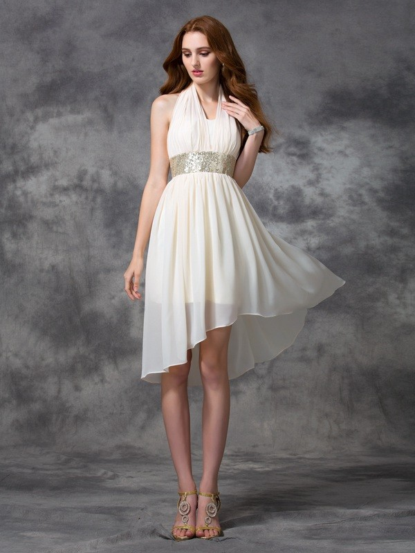 A-Line Halter Asymmetrical Ivory Homecoming Dresses with Sequin