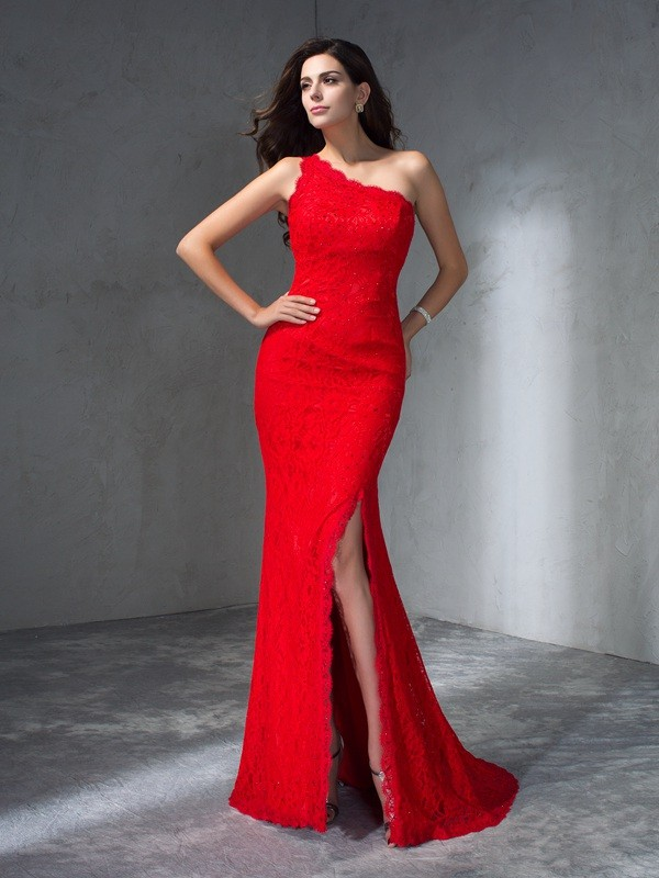 Red Mermaid One-Shoulder Brush Train Prom Dresses