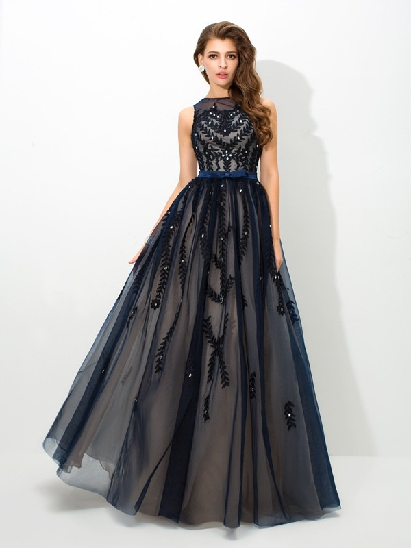 A-Line Sheer Neck Floor-Length Dark Navy Prom Dresses with Applique