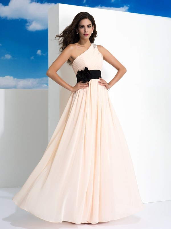 One-Shoulder Floor-Length Pearl Pink Prom Dresses with Sash/Ribbon/Belt