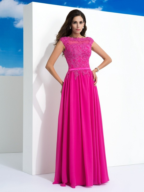 Chiffon Sheer Neck Floor-Length Fuchsia Prom Dresses