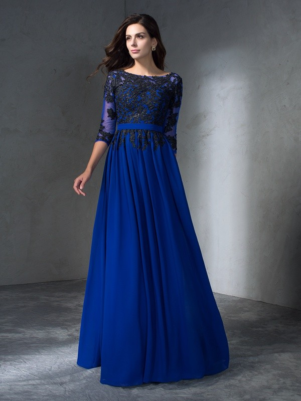A-Line Scoop Floor-Length Royal Blue Prom Dresses