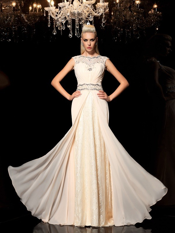 Chiffon Sheer Neck Floor-Length Champagne Prom Dresses