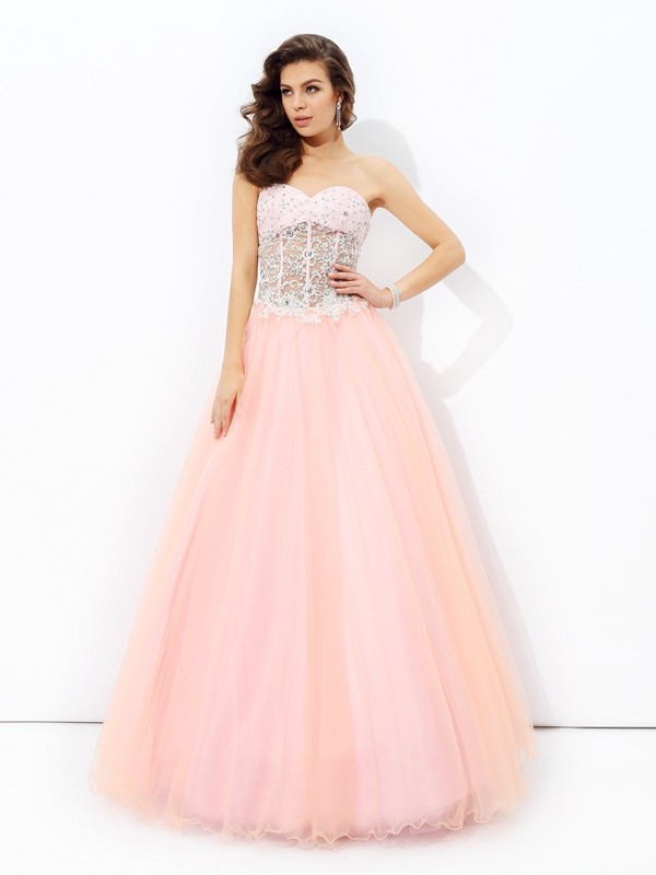 Net Sweetheart Floor-Length Pink Prom Dresses