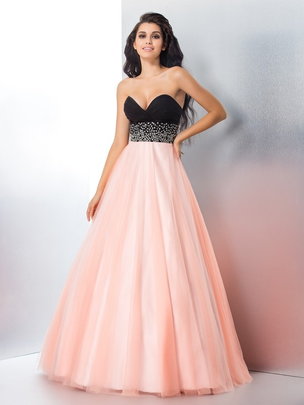 Ball Gown Sweetheart Floor-Length Pink Prom Dresses
