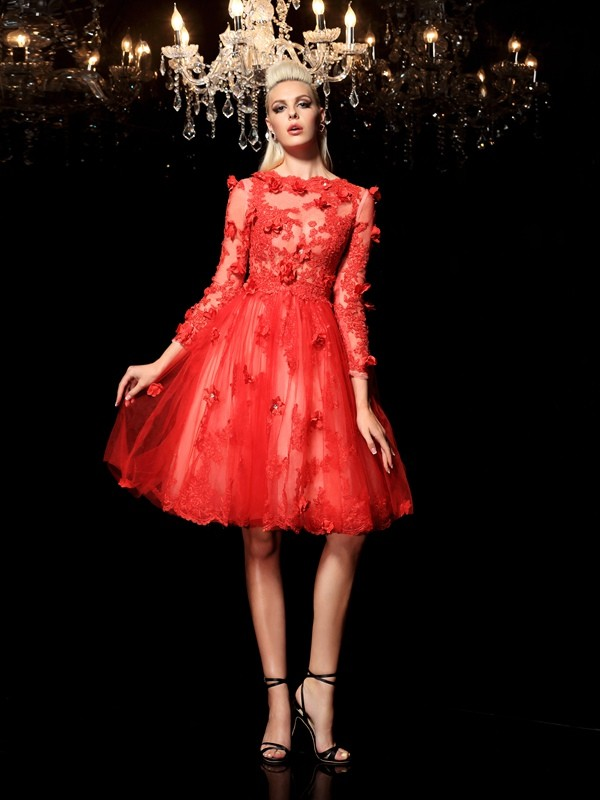 A-Line Sheer Neck Short/Mini Red Prom Dresses with Applique