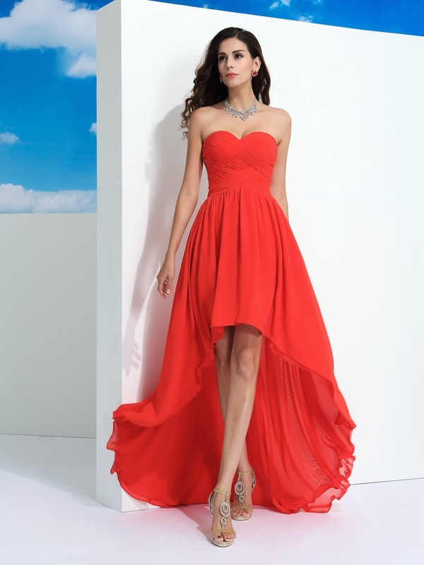 Chiffon Sweetheart Asymmetrical Watermelon Prom Dresses