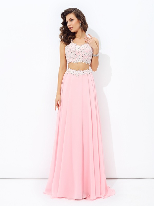 A-Line Straps Floor-Length Pink Prom Dresses
