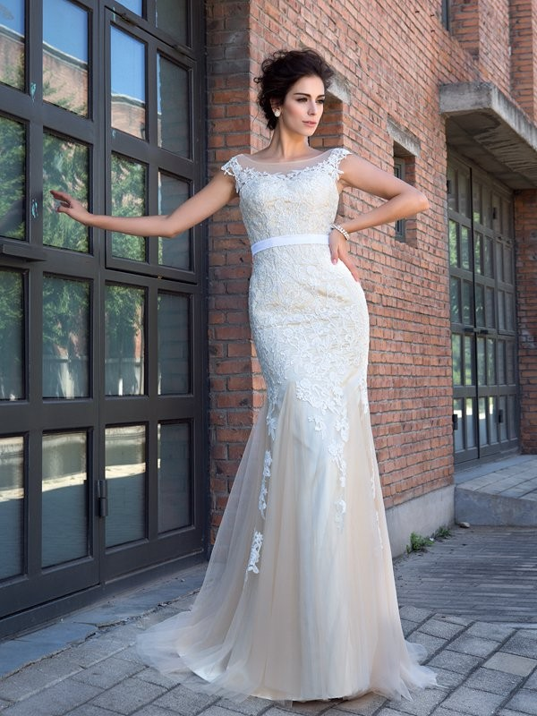 Mermaid Sheer Neck Brush Train Champagne Prom Dresses with Applique