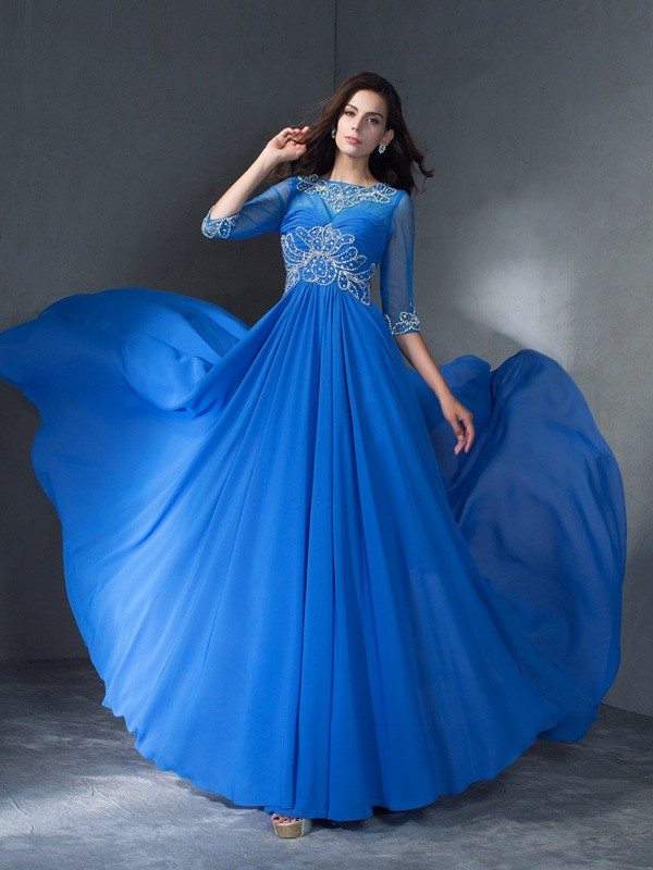 A-Line Scoop Brush Train Blue Prom Dresses