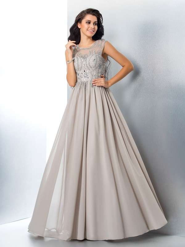 A-Line Sheer Neck Floor-Length Silver Prom Dresses with Beading