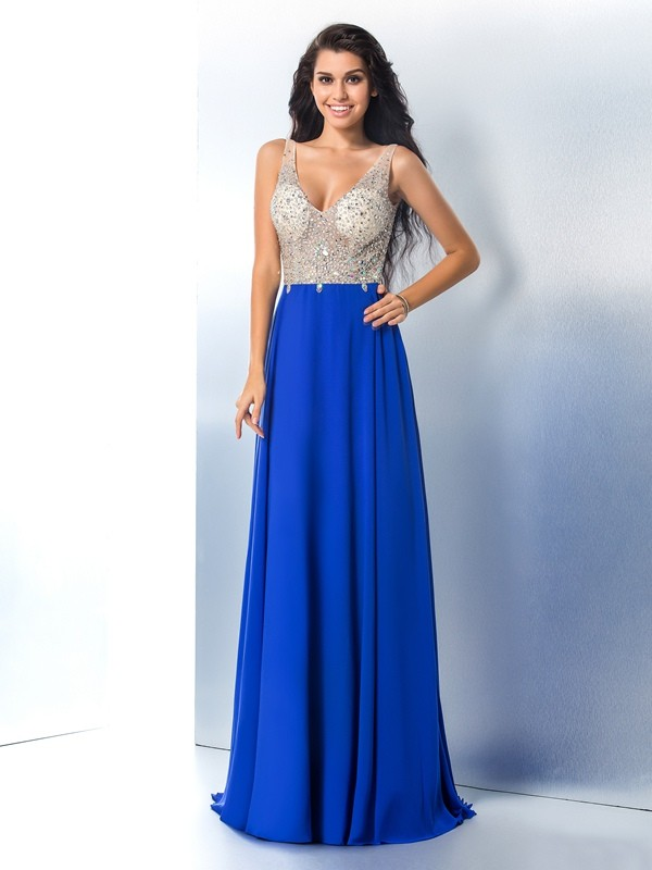 A-Line Chiffon Straps Brush Train Prom Dresses with Beading