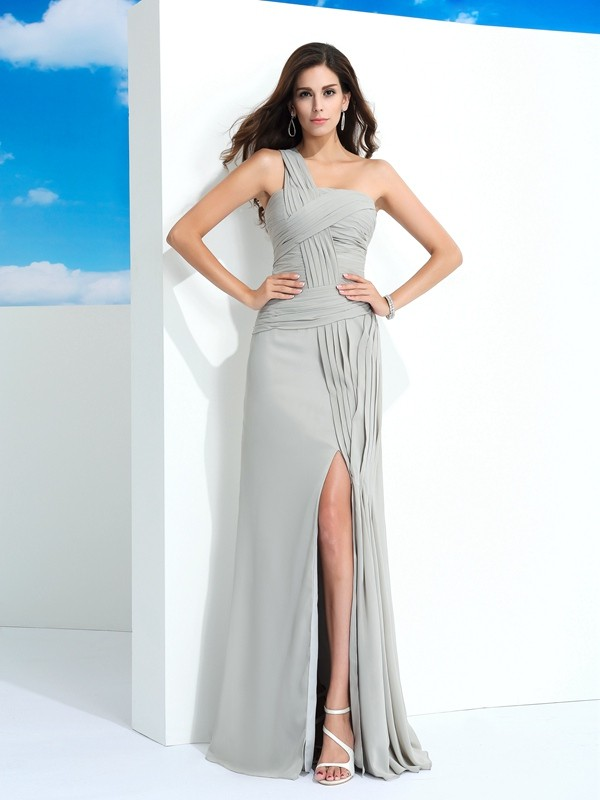 Floor-Length Grey One-Shoulder Prom Dresses with Pleats