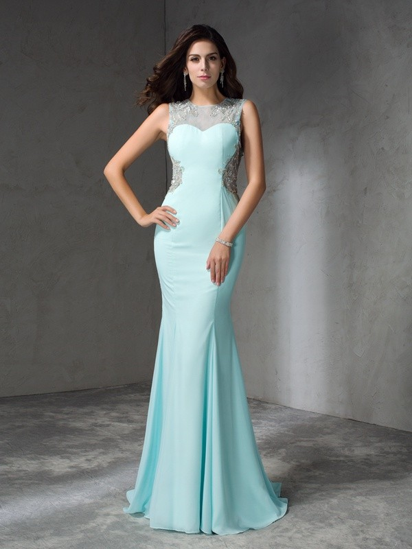 Mermaid Jewel Brush Train Light Sky Blue Prom Dresses with Beading