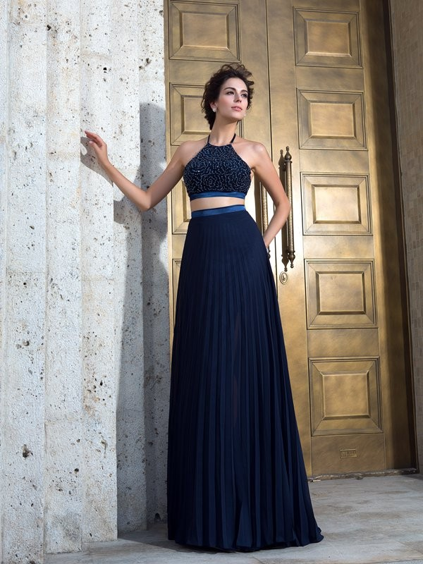 A-Line Chiffon Spaghetti Straps Brush Train Prom Dresses with Pleats