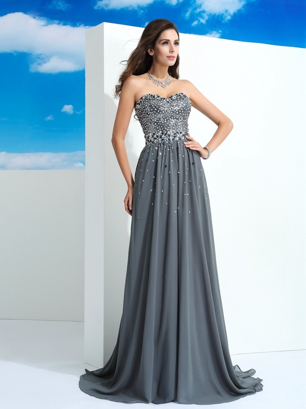 Chiffon A-Line Brush Train Sweetheart Grey Prom Dresses
