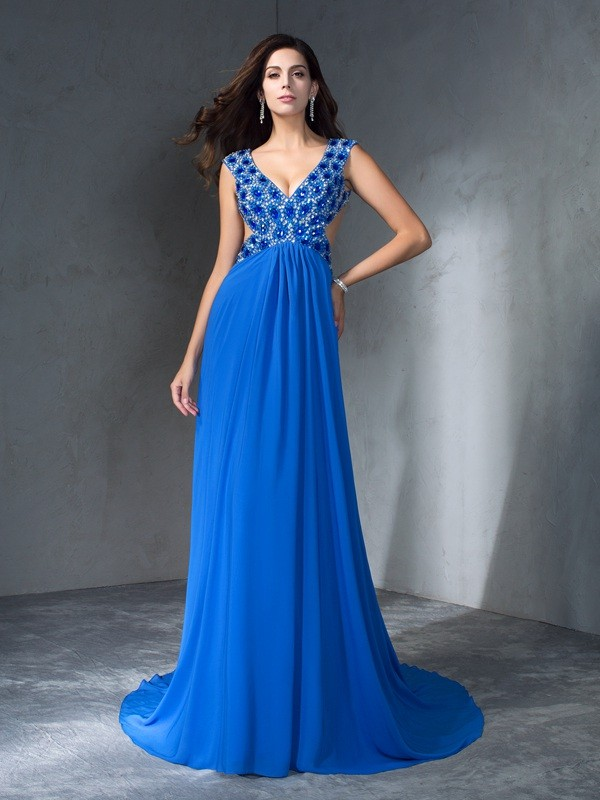 A-Line V-neck Brush Train Blue Prom Dresses with Sequin