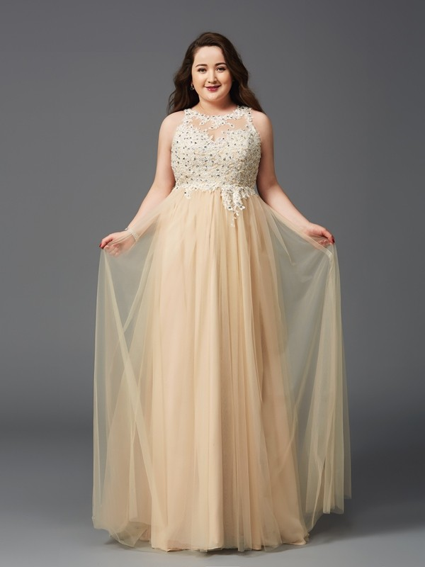 A-Line Scoop Floor-Length Champagne Prom Dresses