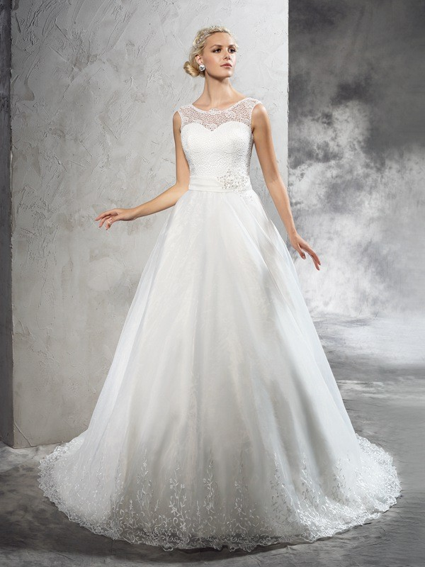 Ball Gown Sheer Neck Court Train Ivory Wedding Dresses