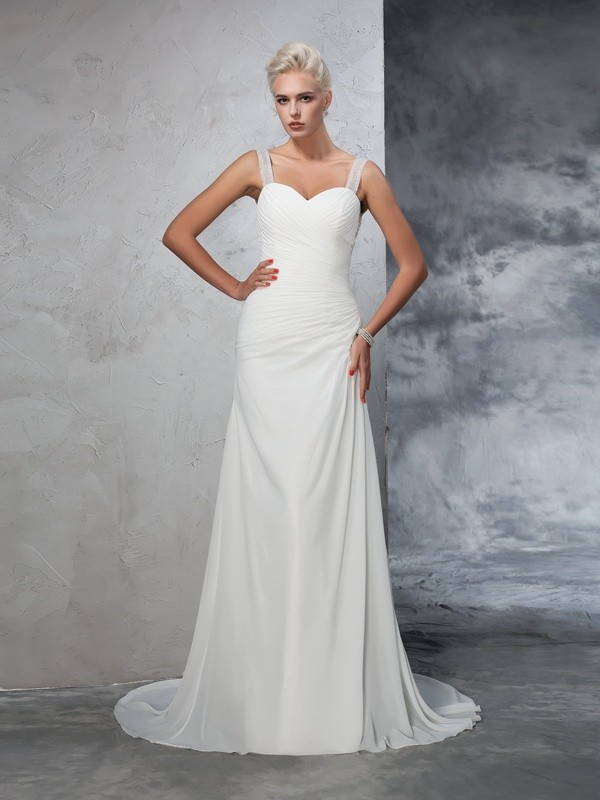 Mermaid Straps Court Train Ivory Wedding Dresses with Ruched