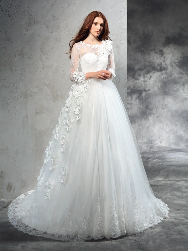 Ball Gown Net Long Sleeves Sheer Neck Court Train Wedding Dresses