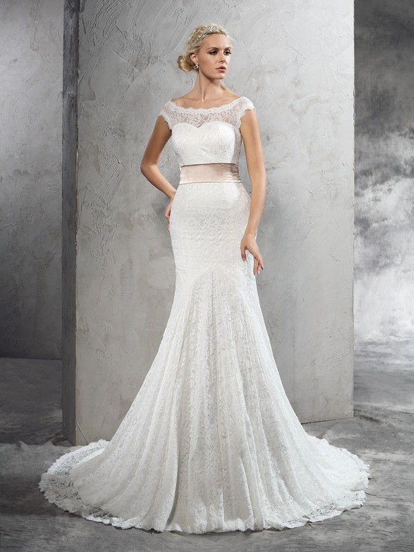 Lace Sheath Court Train Sheer Neck Ivory Wedding Dresses