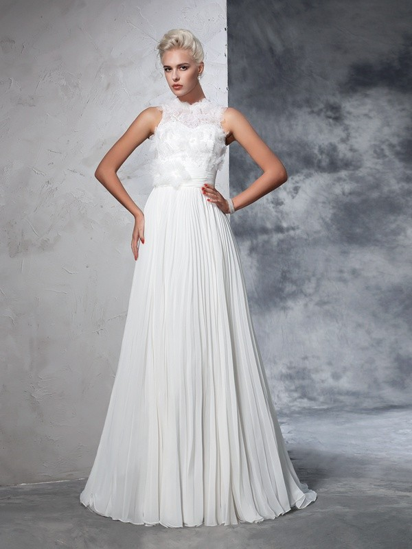 High Neck Court Train Ivory Wedding Dresses with Pleats