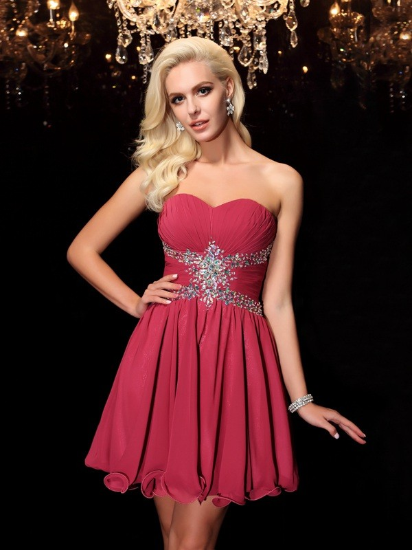 A-Line Short/Mini Burgundy Homecoming Dresses with Rhinestone